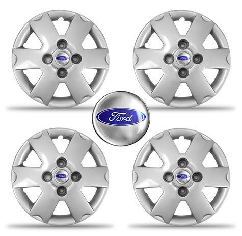 Jogo Calota Ford Ka 2002 2003 Aro 13 Cubo Baixo Com Emblema Grid