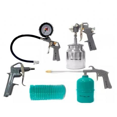 Imagem de Jogo de Acessórios Pneumáticos com Pistola Tanque Baixo de Alumínio