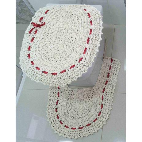 Jogo de Banheiro Crochê Fitado Vermelho com 3 peças - Casa sua beleza c4f0cdc32a4