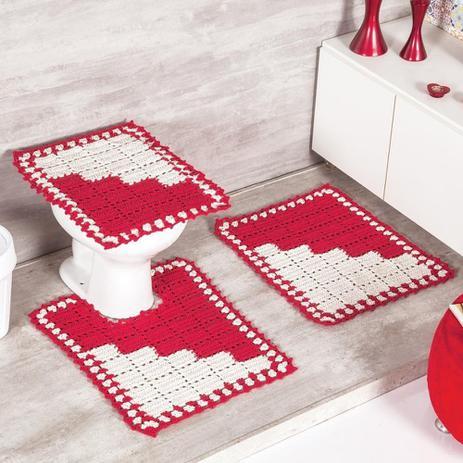 Jogo de Banheiro Napolis 03 Peças Crochê 100 Algodão - Vermelho - Fine  crochet f648835e7bd
