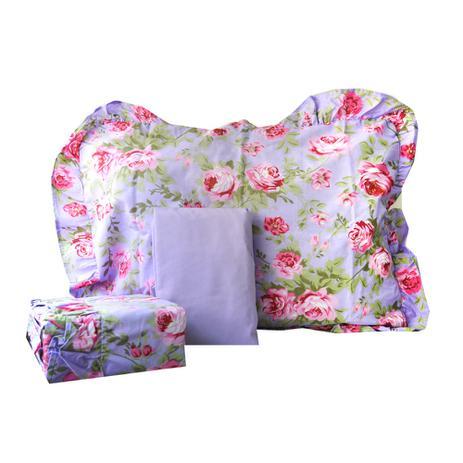 Jogo de cama casal 180 fios romantique roxo floral 4 pe as for Textil cama