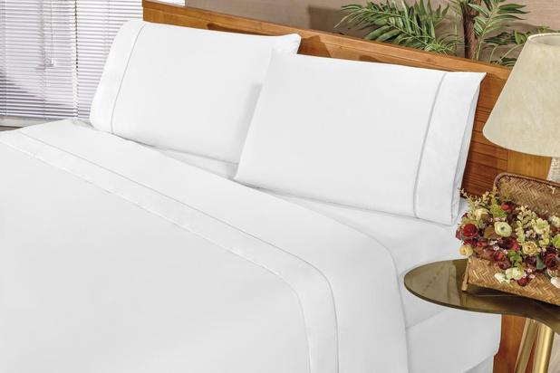 Imagem de Jogo de Cama Casal King elegance 4 Peças Percal 180 Fios Branco