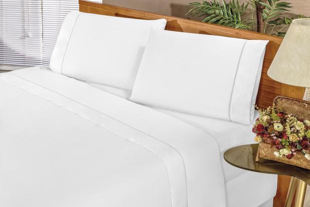 Imagem de Jogo de Cama Casal Padrão Elegance 4 Peças Percal 180 Fios Branco
