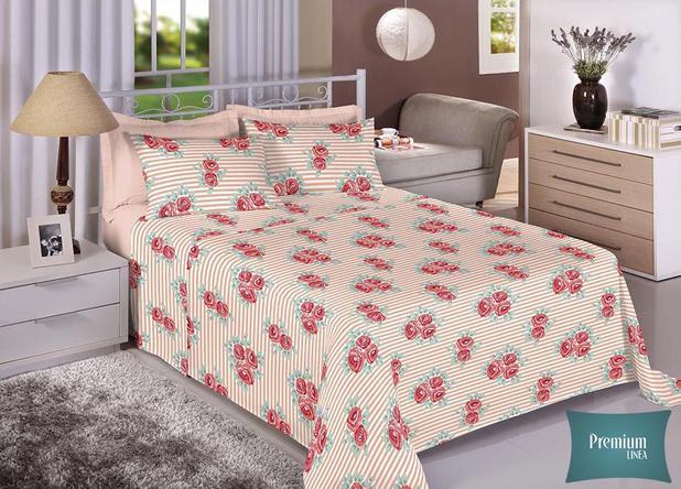 282c3b8f96 Jogo de cama casal Percal 100 Algodão 180 Fios - Premium Line Estamparia -  7296