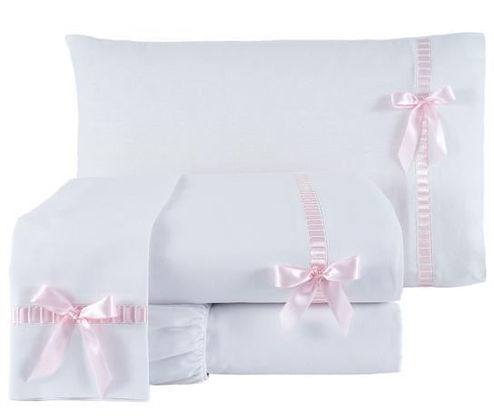 c9f5dedfd Jogo de Cama Casal Queen Essence 100 Algodão 200 Fios 04 Peças - Branco    Rosa - Borda bordados enxovais