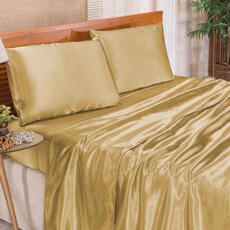 9de084ab8c Jogo de Cama Casal Queen Romantic Tecido Cetim Charmousse 4 Peças - Dourado  - Bia enxovais