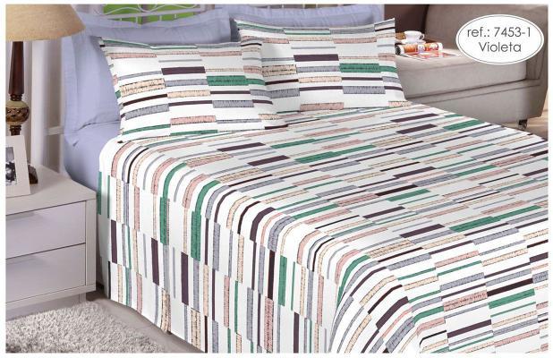 96930c28fe Jogo de cama de casal queen size - 100 algodão Premium Plus - Violeta  7453-1 - Estamparia