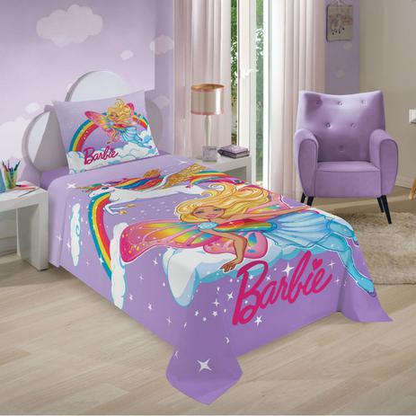 d6f1557e2a Menor preço em Jogo de Cama Infantil Barbie Reinos Magicos Menina 2 Peças  Lepper