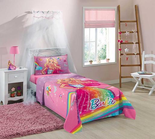 96c562f7a1 jogo de cama infantil menina estampado barbie reino do arco-íris c 3 peças  - Lepper