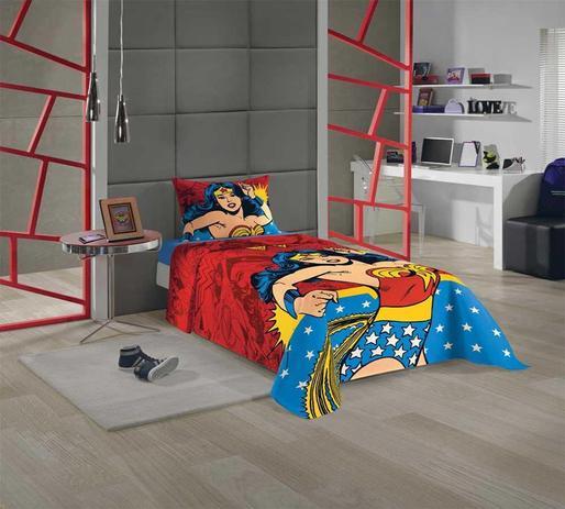 e0d1f4c942 jogo de cama infantil menina estampado Liga da Justiça-mulher maravilha c 3  peças - Lepper