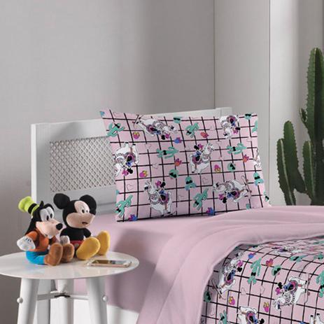 5fd196687b Jogo de Cama Portallar Solteiro Malha Disney 2 Peças Minnie Lhama Rosa Candy