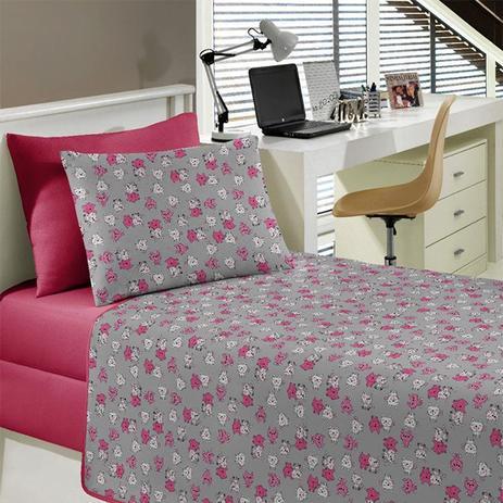 8f5f000b8d Jogo de Cama Portallar Solteiro Malha Gatinha Estampado 3 peças Rosa  Chiclete