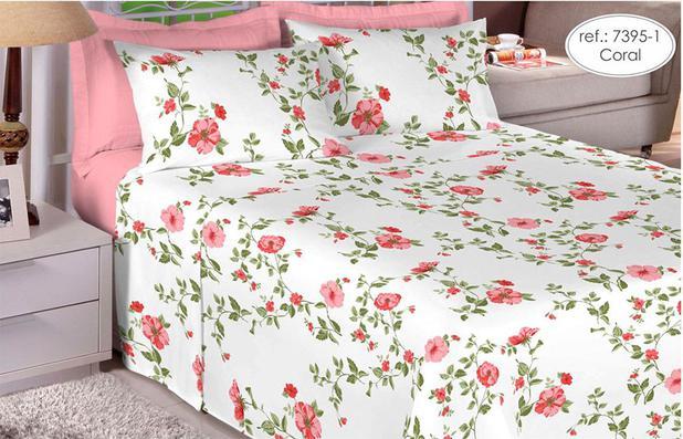 Imagem de Jogo de cama Queen Size 180 fios 100% algodão Premium Linea estampado Coral com Flores Rosas