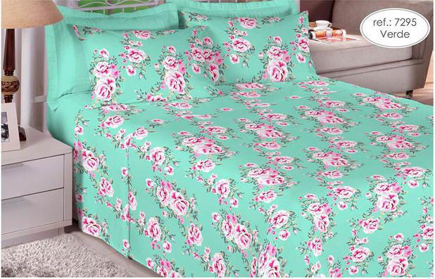 Imagem de Jogo de cama Queen Size 180 fios 100% algodão Premium Linea estampado Verde com Rosa 7295