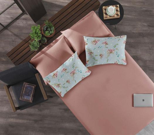 Imagem de Jogo de cama simples casal de malha flor de lotus rosa antigo - niazi