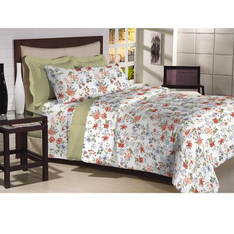 c7467b8b78 Jogo de Cama Solteiro 180 fios Innovare Verde 3 peças - Têxtil lar ...