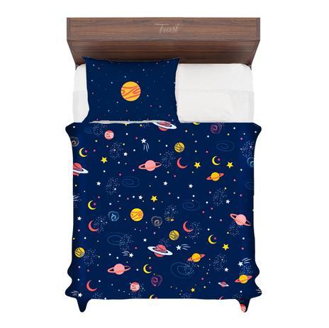 Jogo De Cama Solteiro Galaxia Planetas E Cometas Desenho