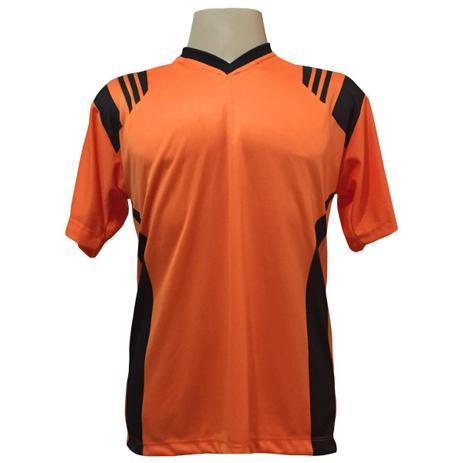 409f5a97cd2b5 Jogo de Camisa com 18 unidades modelo Roma Laranja Preto + 1 Goleiro +  Brindes - Play fair