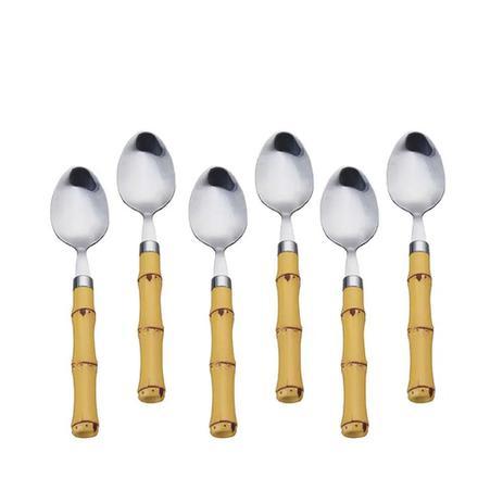 Imagem de Jogo de colheres sobremesa em inox e plástico Lyor Bambu 6 peças