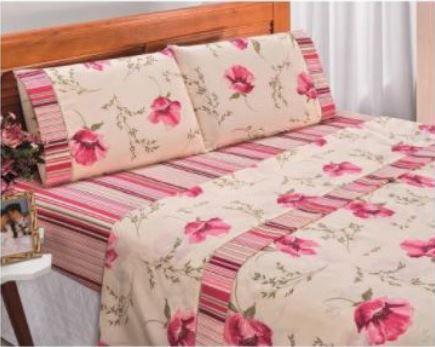 Imagem de Jogo de lençol casal queen 4 pçs microfibra estampas sortidas