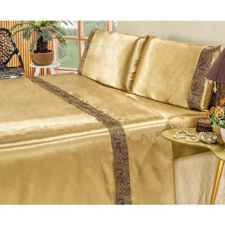 cf79ebe1bf Jogo de Lençol Queen Size Cetim Oncinha Safari 4 Peças - Dourado - Bia  enxovais