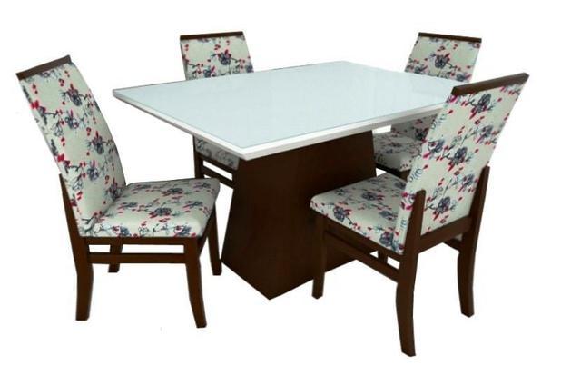 Jogo de mesa Barcelona com 4 cadeiras Veneza Móveis Tradição ... 93698590c1790