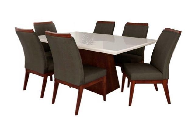 Jogo De Mesa Barcelona Laqueado Com 6 Cadeiras Munique Móveis Tradição a78bfdf5b0b76