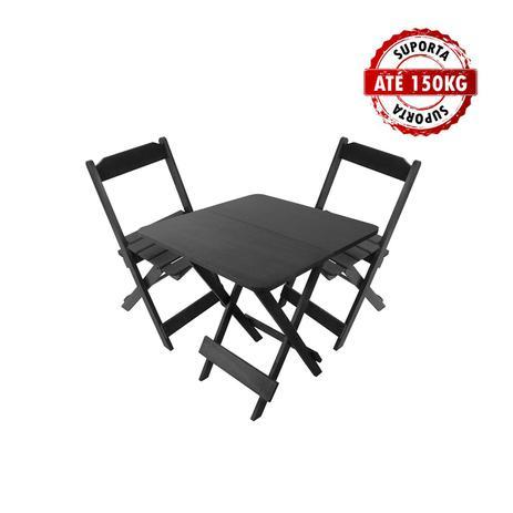 115ec9b3bece5b Jogo De Mesa Conjunto 2 Cadeiras Madeira 70 por 70 Dobráveis Preto - Lcg  eletro