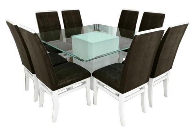 Jogo De Mesa Quadrada Milão Com 8 Cadeiras Milão Móveis Tradição ... cb1591f8950e4