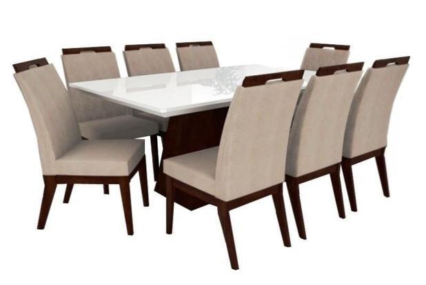 Jogo De Mesa Retangular Barcelona E 8 Cadeiras Valência Móveis Tradição 53b6e462a9cea