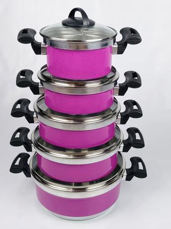 Imagem de Jogo de Panela Alumínio Rebeca - 5 Peças Com Tampa de Vidro / Rosa Médio