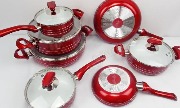 Imagem de Jogo De Panela Cerâmica Antiaderente Vermelha 7 peças