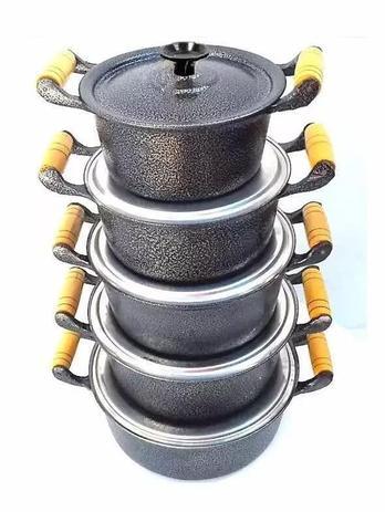 Imagem de Jogo De Panela Em Aluminio Batido Fundido Grosso Cor Preta