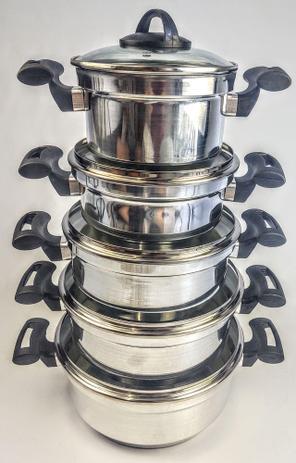 Imagem de Jogo de Panela Rebeca - 5 Peças Com Tampa de Vidro + Brinde / Alumínio Polido - Tenesin Oficial
