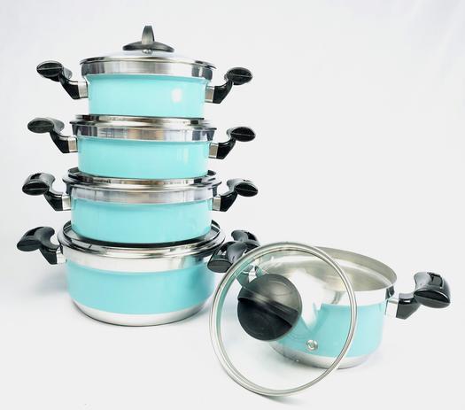 Imagem de Jogo de Panela Rebeca - 5 Peças Com Tampa de Vidro + Brinde / Azul Tiffany