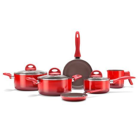 Imagem de Jogo de Panelas 6 Peças Ceramic Smart Plus Brinox Vermelho