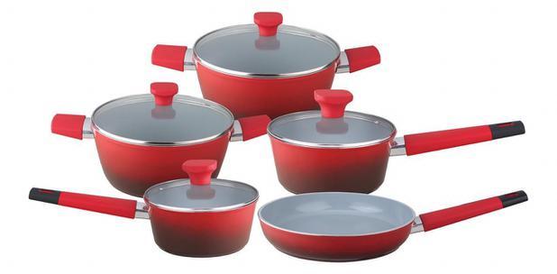 Imagem de Jogo de panelas indução 5 peças vermelho revestimento cerâmico baccani