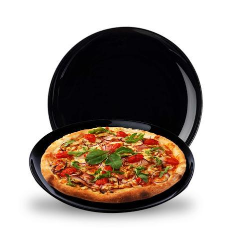 Imagem de Jogo de Pratos de Vidro Preto Raso Opanile Redondo 2 Pcs pata Bolo/ Pizza