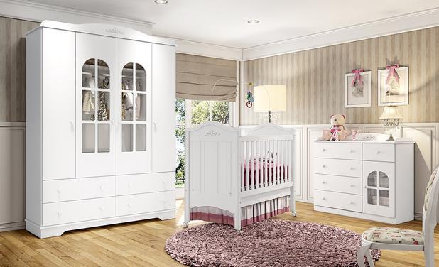 Jogo De Quarto Bebê 4 Portas Provençal Branco Hp Henn Quarto