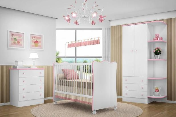 Jogo De Quarto Bebê Doce Sonho Brancorosa Qmovi Móveis Para