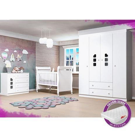 Imagem de Jogo De Quarto Guarda Roupa 4 Portas, Cômoda Ana Livia + Berço 251 + Colchão - Phoenix Baby