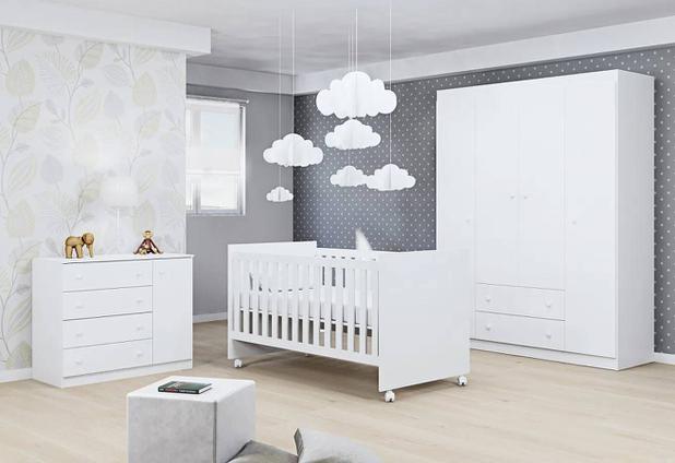 Imagem de Jogo De Quarto Para Bebê Helena Com Guarda Roupa 4 Portas + Cômoda + Berço Mini Cama - Phoenix Baby