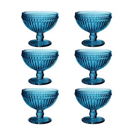 Imagem de Jogo de Taças de Sobremesa Empire Azul 300 ml com 6 Peças Lyor