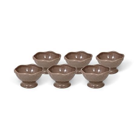 Imagem de Jogo de taças para sorvete Bencafil 12x12x7,5cm 6 peças Nude