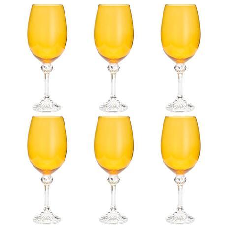 Imagem de Jogo de taças para vinho em cristal Bohemia Elisa 450ml 6 peças amarelo