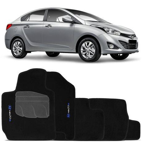 Jogo de Tapete Carpete Hyundai HB20S Sedan 2013 a 2018 Preto Bordado 5 Peças  - Shutt 55ae7d53bea2