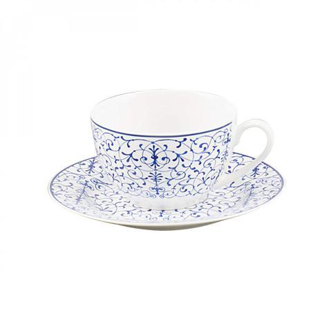 Imagem de Jogo de Xícaras de Chá com Pires Porcelana 12 Peças 220ml Abstract Rojemac Branco/Azul