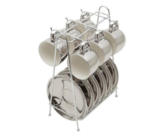 Imagem de Jogo de Xícaras para Café com Pires em Porcelana Versa Branco e Prateado - 90ml