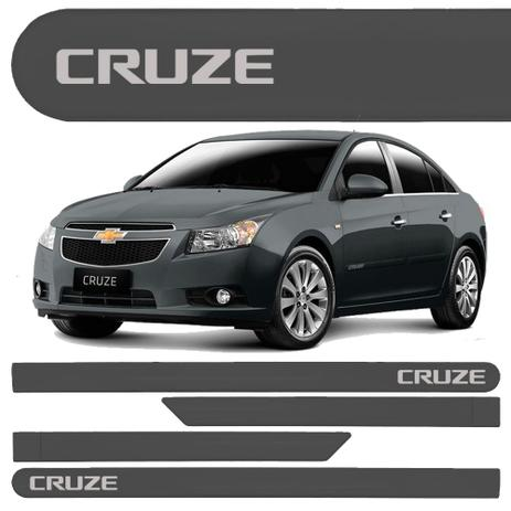 5bc8b2066be39 Jogo Friso Lateral Chevrolet Cruze Hatch Sedan Cinza Spectrus - Kl store