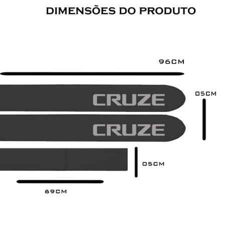 b27c5879f5524 Jogo Friso Lateral Chevrolet Cruze Hatch Sedan Preto Carbon Flash - Kl store